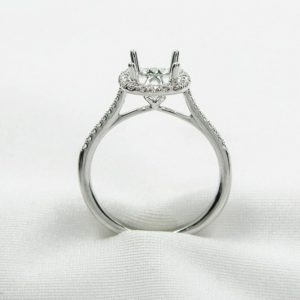 White Gold Fishtail Diamond Halo Semi-Mounting
