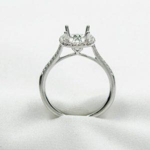 White Gold Fishtail Diamond Halo Semi-Mounting
