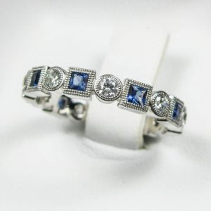 Diamond and Sapphire Eternity Band