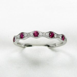 White Gold Diamond and Ruby Pave Milgrain Band