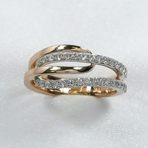 White and Rose Gold Diamond By-Pass Ring