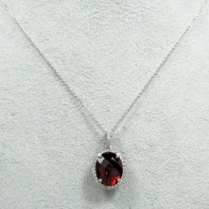 14K White Gold Oval Garnet Pendant with Diamond Halo