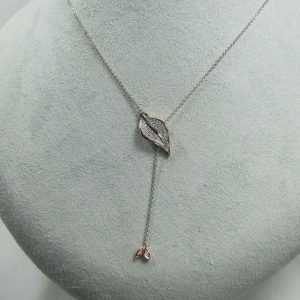 "18K Rose Gold ""Leaf"" Pendant with Diamonds"