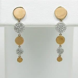14K Rose Gold Multi-Circle Diamond Drop Earrings