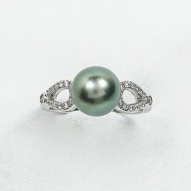 14k White Gold 9mm Tahitian Pearl And Diamond Ring Chas S