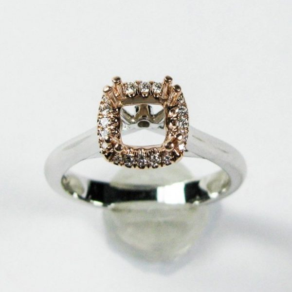 White Gold Semi-Mounting with Rose Gold Diamond Halo