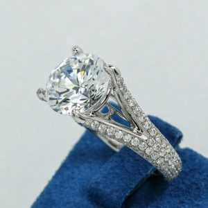 White Gold Pave Split-Shank Semi-Mounting